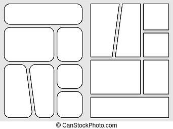 isolé, papier, dehors., style., créer, disposition, comique, rapidement, livre, gabarit, a4, storyboard, proportion, impression, conception, crise, manga, vecteur