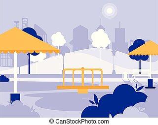 isolé, parc, cour de récréation, icône