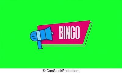 isolé, porte voix, retro, loto, parole, animation, bingo., fond, bulle, style, texte, beau