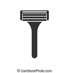 isolé, rasage outil, noir, icône, rasoir, vecteur, fond, blanc, soins personnels, illustration