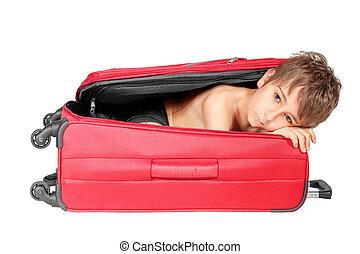 isolé, regarder, enfant, suitcase., blanc rouge, dehors