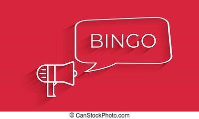 isolé, retro, beau, texte, animation, loto, bulle discours, porte voix, bingo., style, fond