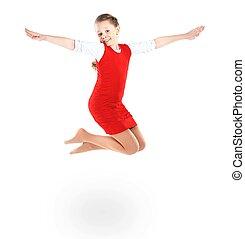 isolé, sauter, fond, girl, blanc, heureux