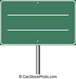 isolé, signe, arrière-plan., vert, vide, blanc, autoroute