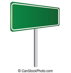 isolé, signe, vert, vide, blanc, route