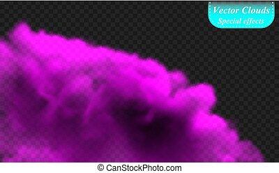 isolé, spécial, couverture, effect., illustration, transparent, arrière-plan., vecteur, brouillard, fumée, violet, ultra, ou, nuage