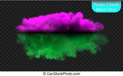 isolé, spécial, couverture, effect., illustration, transparent, arrière-plan., vecteur, vert, brouillard, fumée, ultra-violet, ou, nuage
