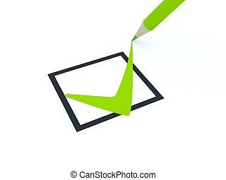 isolé, symbole, blanc, chèque
