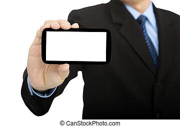 isolé, téléphone, tenue, homme affaires, blanc, intelligent