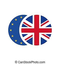 isolé, uni, vecteur, brexit, union, européen, concept., icône, royaume, drapeau, fond, flag., blanc