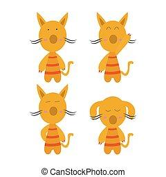 isolé, vecteur, dessin animé, plat, fond, illustration, fête, character., concept, chat, simple, blanc, animaux