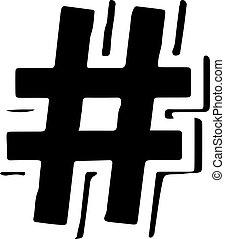 isolé, vecteur, hashtag, fond, blanc