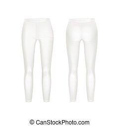isolé, vecteur, jambières, fond, pantalon blancs