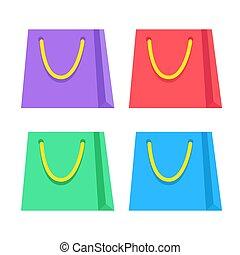 isolé, vecteur, sacs, achats, fond, ensemble, blanc