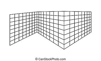 isolé, vide, perspective, contour, arrière-plan., rectangle, divisé, aller, cellules, blanc