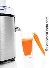 isolated., centrifugeuse, carotte, jus frais