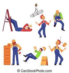 isolated., plat, travail, blessure, ensemble, construction, illustration, vecteur, ouvrier