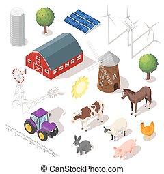 isométrique, animaux, ferme, set., vecteur, 3d