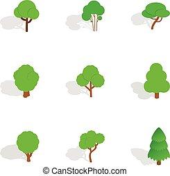isométrique, arbre, icônes, style, vert, 3d