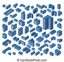 isométrique, bâtiments