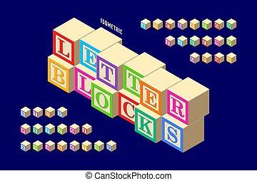 isométrique, bois, coloré, lettre, blocs, alphabet
