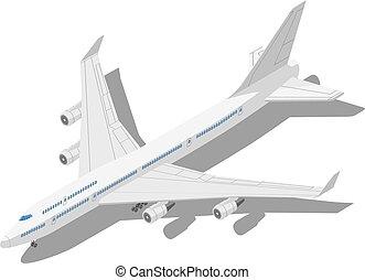 isométrique, civil, isolé, illustration, arrière-plan., avion, vecteur, blanc