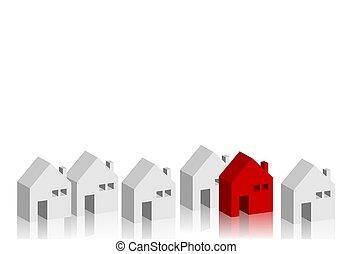 isométrique, concept, business, bâtiments, illustration, vecteur, conception, maison