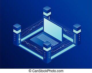 isométrique, concept, général, règlement, protection, données, information