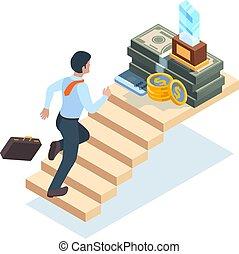 isométrique, concept, victoire, homme, homme affaires, échelle, escalier, étapes, vecteur, reussite, escaliers., marche, courant