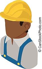 isométrique, constructeur, style, américain, africaine, icône, ingénieur, 3d