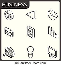 isométrique, contour, icones affaires