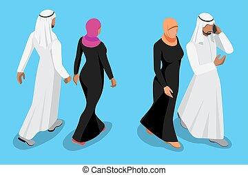 isométrique, couple, dos, illustration, vecteur, devant, arabe, vue