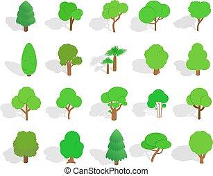 isométrique, ensemble, arbre, style, vert, icône