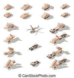 isométrique, ensemble, moderne, camouflage, équipement, militaire, désert, icône