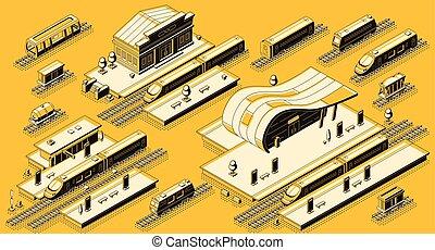 isométrique, ensemble, train, vecteur, station, locomotive
