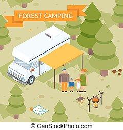 isométrique, forêt, camping famille
