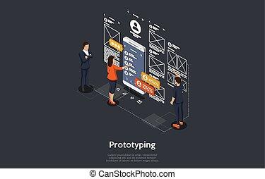 isométrique, illustration, mobile, application., vecteur, développer, concept, gens, recherche, prototyping