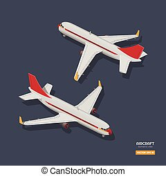 isométrique, industriel, civil, dos, avion, dessin, avion., avion, infographic, jeu, devant, vue., 3d, style., ou, icône