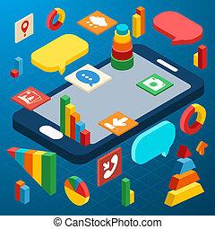 isométrique, infographic, smartphone