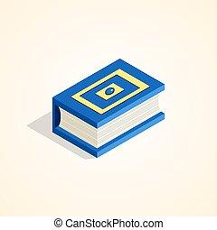 isométrique, livre, style.