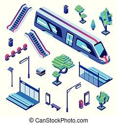 isométrique, métro, train, illustration, vecteur, station