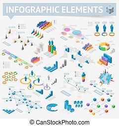 isométrique, mettez stylique, éléments, infographics