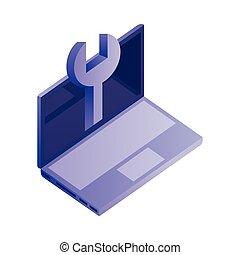 isométrique, outillage, informatique, clé, ordinateur portable, icône