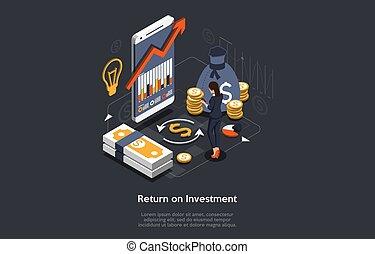 isométrique, roi, commercialisation, toile, illustration, stratégie, investissement, retour, concept., profit, ou, arrière-plan., vecteur, banner., revenu, business, financier