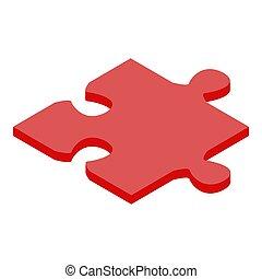 isométrique, rouges, icône, style, puzzle