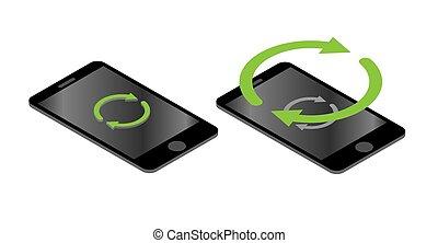 isométrique, smartphone, icône
