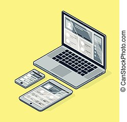 isométrique, smartphone, tablette, ordinateur portable, jaune, arrière-plan.