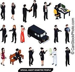 isométrique, spécial, agent, gens