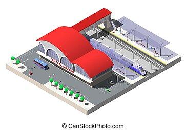 isométrique, train., illustration, plateformes, vecteur, station, ferroviaire, bâtiment