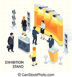 isométrique, vecteur, exposition, illustration, stand